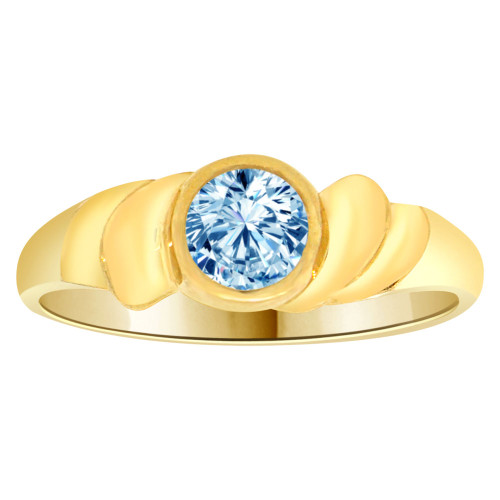 14k Yellow Gold, Abstract Design Ring Round Mar Birth Color Cubic Zirconia (R205-303)