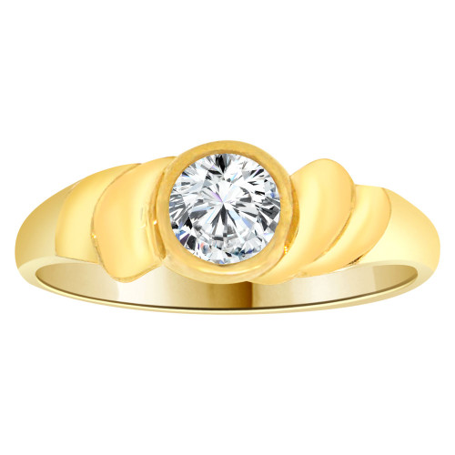 14k Yellow Gold, Abstract Design Ring Round Brilliant Cubic Zirconia (R205-304)
