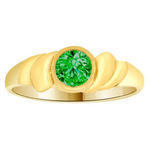 14k Yellow Gold, Abstract Design Ring Round May Birth Color Cubic Zirconia (R205-305)