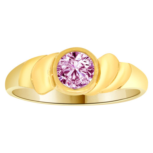 14k Yellow Gold, Abstract Design Ring Round Jun Birth Color Cubic Zirconia (R205-306)