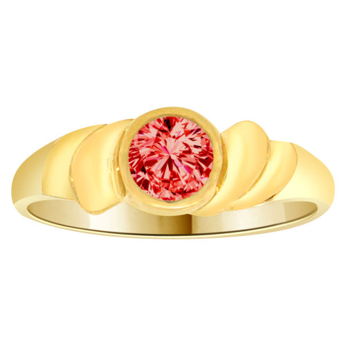 14k Yellow Gold, Abstract Design Ring Round Jul Birth Color Cubic Zirconia (R205-307)