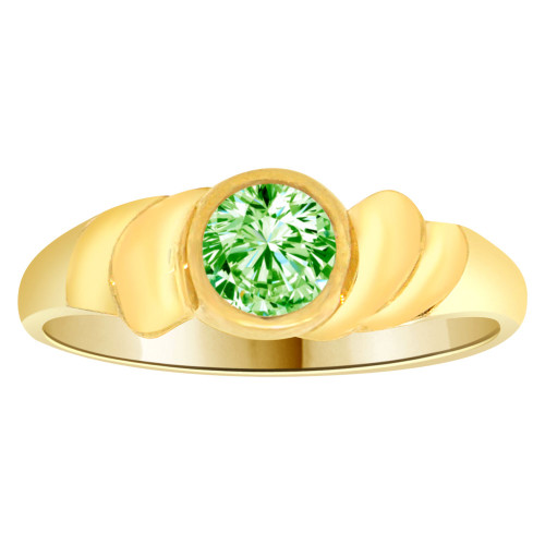 14k Yellow Gold, Abstract Design Ring Round Aug Birth Color Cubic Zirconia (R205-308)
