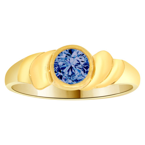 14k Yellow Gold, Abstract Design Ring Round Sep Birth Color Cubic Zirconia (R205-309)