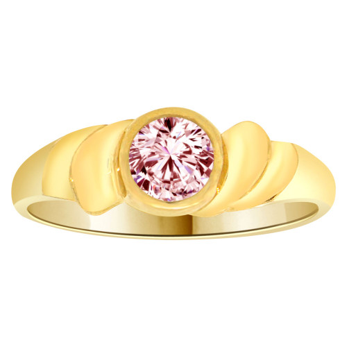 14k Yellow Gold, Abstract Design Ring Round Oct Birth Color Cubic Zirconia (R205-310)