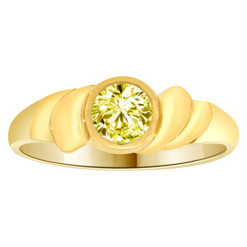 14k Yellow Gold, Abstract Design Ring Round Nov Birth Color Cubic Zirconia (R205-311)