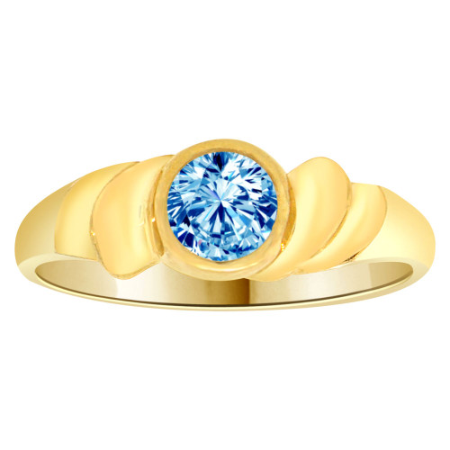 14k Yellow Gold, Abstract Design Ring Round Dec Birth Color Cubic Zirconia (R205-312)