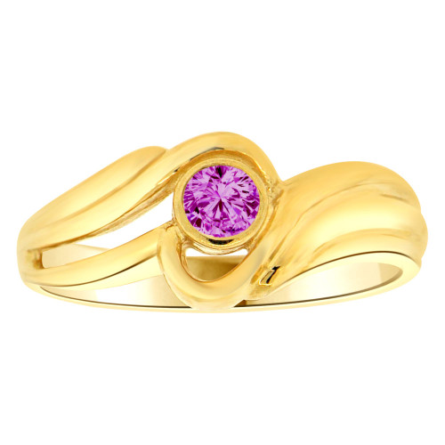 14k Yellow Gold, Abstract Design Ring Round Feb Birth Color Cubic Zirconia (R205-402)