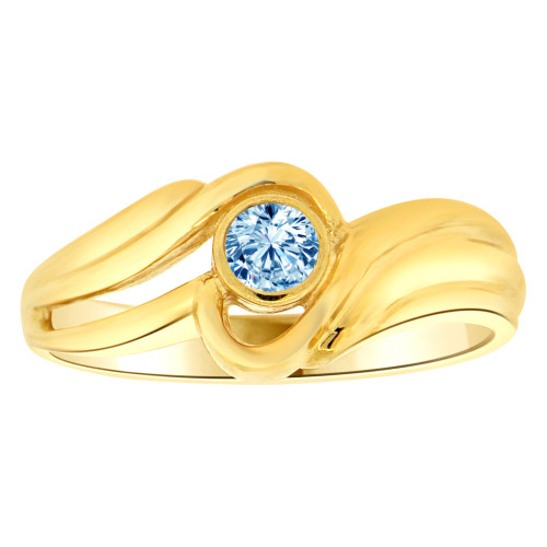 14k Yellow Gold, Abstract Design Ring Round Mar Birth Color Cubic Zirconia (R205-403)