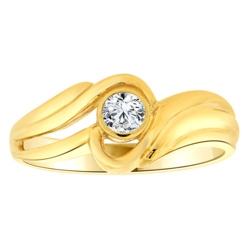 14k Yellow Gold, Abstract Design Ring Round Brilliant Cubic Zirconia (R205-404)