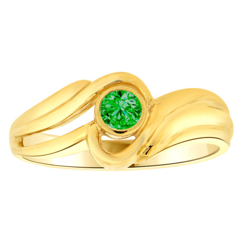 14k Yellow Gold, Abstract Design Ring Round May Birth Color Cubic Zirconia (R205-405)