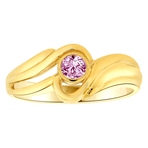14k Yellow Gold, Abstract Design Ring Round Jun Birth Color Cubic Zirconia (R205-406)