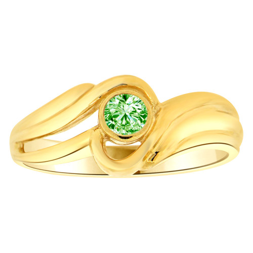 14k Yellow Gold, Abstract Design Ring Round Aug Birth Color Cubic Zirconia (R205-408)