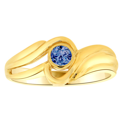 14k Yellow Gold, Abstract Design Ring Round Sep Birth Color Cubic Zirconia (R205-409)
