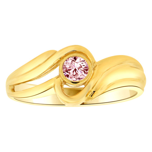 14k Yellow Gold, Abstract Design Ring Round Oct Birth Color Cubic Zirconia (R205-410)