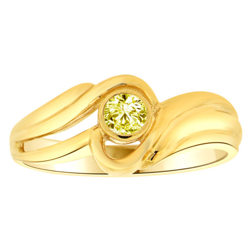 14k Yellow Gold, Abstract Design Ring Round Nov Birth Color Cubic Zirconia (R205-411)