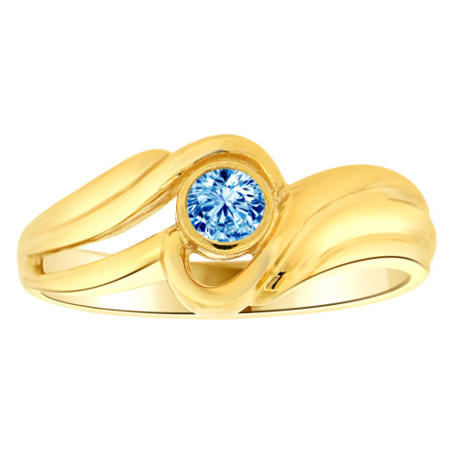 14k Yellow Gold, Abstract Design Ring Round Dec Birth Color Cubic Zirconia (R205-412)