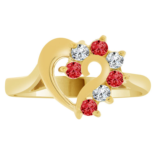 14k Yellow Gold, Classic Heart Ring Round Jan Birth Color Cubic Zirconia (R208-101)