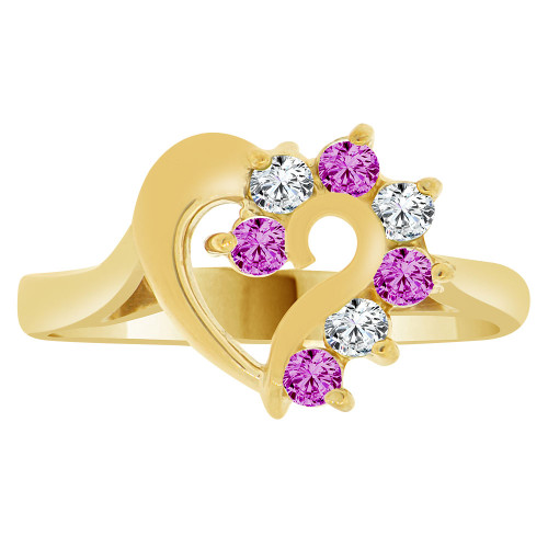 14k Yellow Gold, Classic Heart Ring Round Feb Birth Color Cubic Zirconia (R208-102)