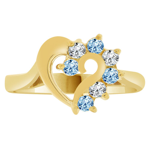 14k Yellow Gold, Classic Heart Ring Round Mar Birth Color Cubic Zirconia (R208-103)
