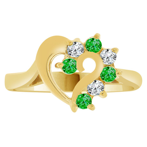 14k Yellow Gold, Classic Heart Ring Round May Birth Color Cubic Zirconia (R208-105)