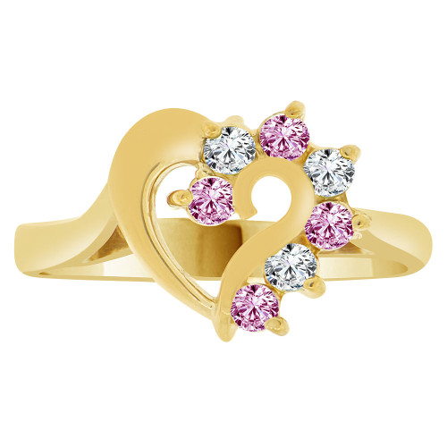 14k Yellow Gold, Classic Heart Ring Round Jun Birth Color Cubic Zirconia (R208-106)