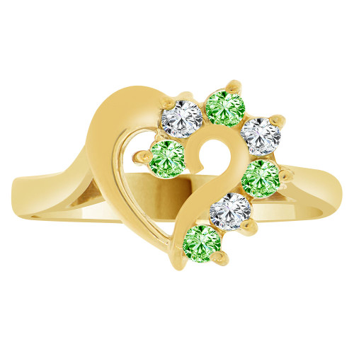 14k Yellow Gold, Classic Heart Ring Round Aug Birth Color Cubic Zirconia (R208-108)
