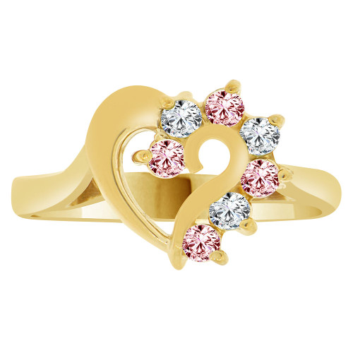 14k Yellow Gold, Classic Heart Ring Round Oct Birth Color Cubic Zirconia (R208-110)