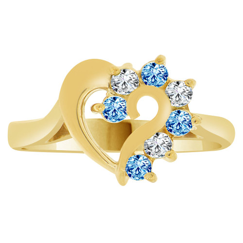 14k Yellow Gold, Classic Heart Ring Round Dec Birth Color Cubic Zirconia (R208-112)