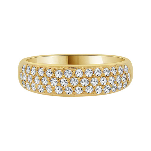 14k Yellow Gold, Lady Tapered Band Ring Cluster Pave Set Cubic Zirconia (R091-013)