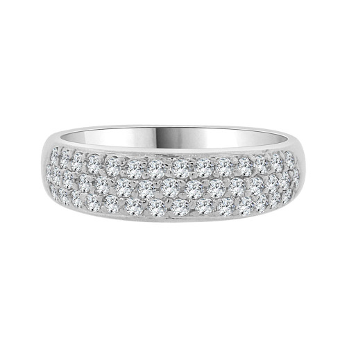 14k White Gold, Lady Tapered Band Ring Cluster Pave Set Cubic Zirconia (R091-063)
