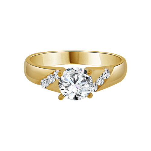 14k Yellow Gold, Lady Engagement Ring Round Cubic Zirconia 6.5mm 1.0ct (R092-005)