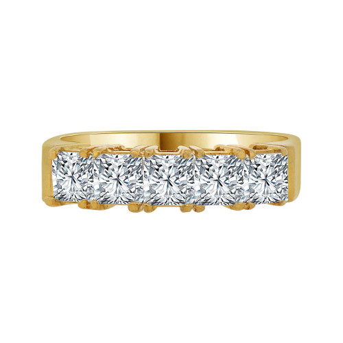 14k Yellow Gold, 5 Stone Band Ring Princess Cut Cubic Zirconia (R094-002)