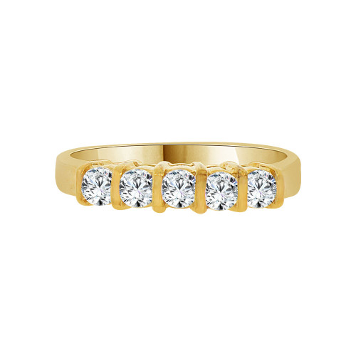 14k Yellow Gold, 5 Stone Band Ring Round Cut Cubic Zirconia (R094-004)