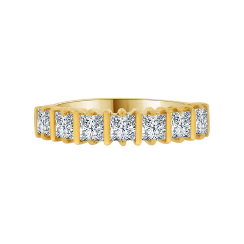 14k Yellow Gold, 7 Stone Anniversary Engagement Band Ring Princess Cut Cubic Zirconia (R094-005)