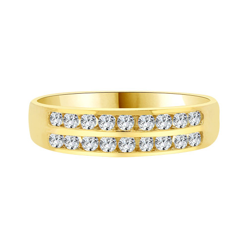 14k Yellow Gold, 2 Row Stones Anniversary Engagement Band Ring Cubic Zirconia (R094-007)