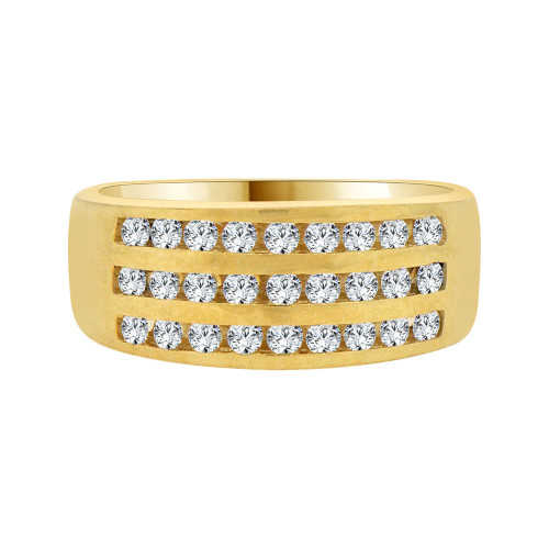 14k Yellow Gold, 3 Row Stones Anniversary Engagement Band Ring Cubic Zirconia (R094-008)