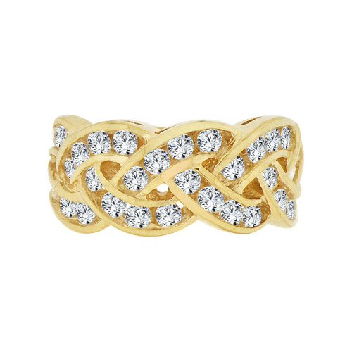 14k Yellow Gold, Fancy Braided Design Anniversary Band Ring Cubic Zirconia (R094-009)