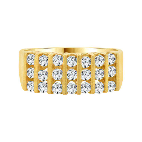 14k Yellow Gold, 3 Row Stones Anniversary Band Ring Cubic Zirconia (R094-010)