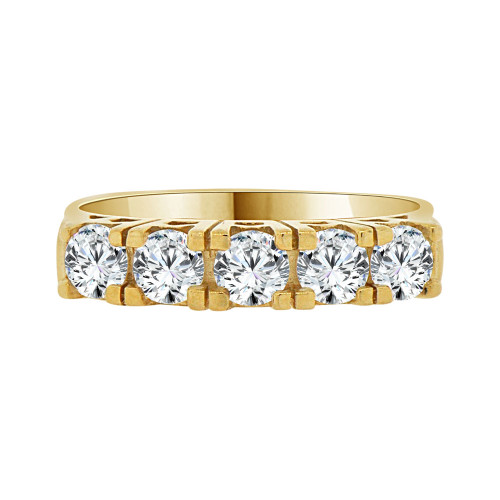 14k Yellow Gold, 5 Stone Band Ring Round Cut Cubic Zirconia (R094-012)