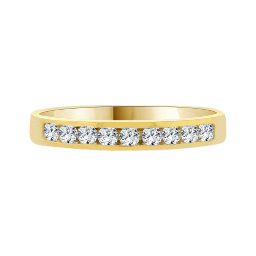 14k Yellow Gold, Dainty Promise Engagement Thin Band Ring Cubic Zirconia (R094-016)
