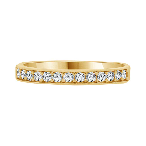 14k Yellow Gold, Dainty Promise Engagement Thin Band Ring Cubic Zirconia (R094-017)