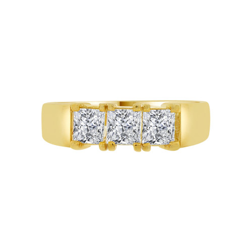 14k Yellow Gold, 3 Stones Anniversary Engagement Ring Princess Lab Cubic Zirconia 5mm 0.75ct (R094-018)