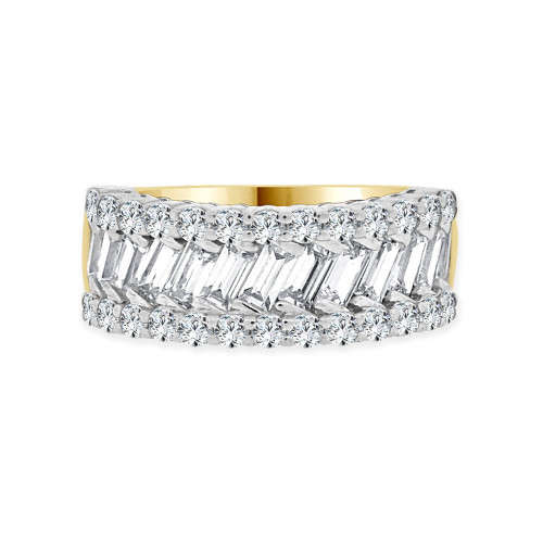 14k Yellow Gold, Fancy Band Ring Round & Baguette Cut Cubic Zirconia (R094-023)