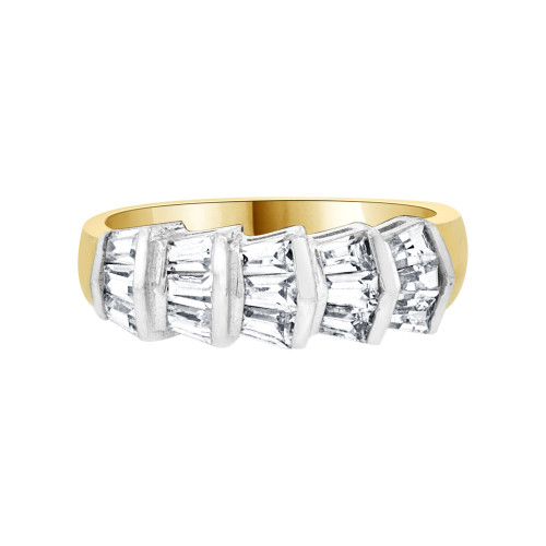 14k Yellow Gold, Fancy Band Ring Baguette Cut Cubic Zirconia (R094-024)