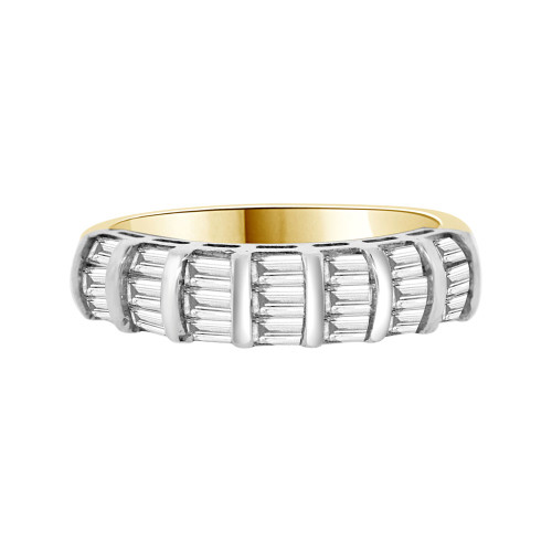14k Yellow Gold, Fancy Band Ring Baguette Cut Cubic Zirconia (R094-025)