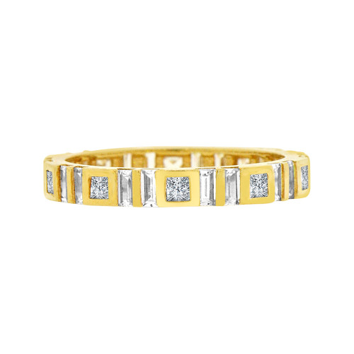 14k Yellow Gold, Fancy Eternity Endless Band Ring Cubic Zirconia Size 8 (R094-026)