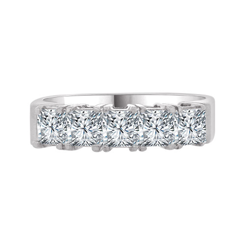 14k White Gold, 5 Stone Band Ring Princess Cut Cubic Zirconia (R094-052)