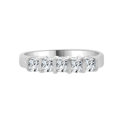 14k White Gold, 5 Stone Band Ring Round Cut Cubic Zirconia (R094-054)