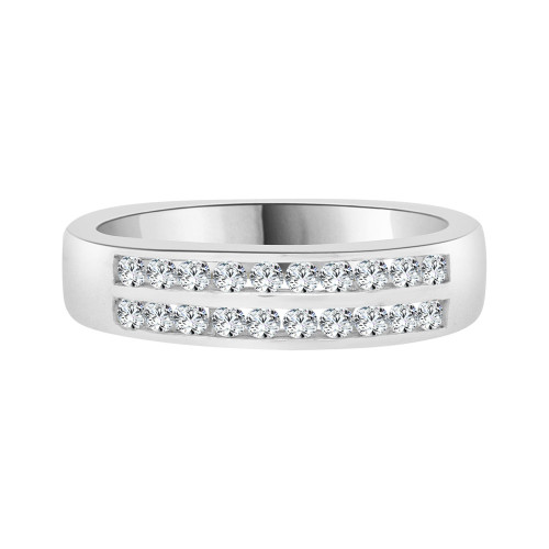 14k White Gold, 2 Row Stones Anniversary Engagement Band Ring Cubic Zirconia (R094-057)