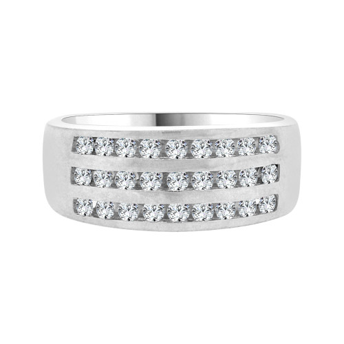 14k White Gold, 3 Row Stones Anniversary Engagement Band Ring Cubic Zirconia (R094-058)